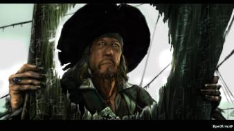 Airbrushed fan black hair captain hector barbossa Wallpaper