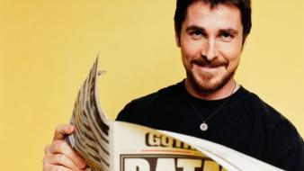 Batman christian bale actors newspapers yellow background wallpaper