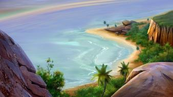 Beach artwork palm trees wallpaper