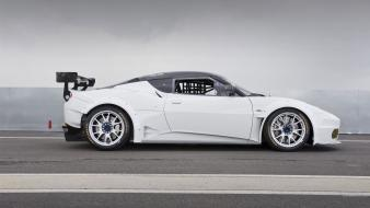 Cars track lotus evora white side view racing wallpaper