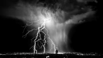 Clouds night storm monochrome lightning cities skies wallpaper