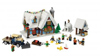 Evergreens white background igloo legos howl village wallpaper