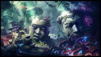 Fantasy art magic statues digital drawings faces wallpaper