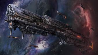 Fantasy art spaceships wallpaper