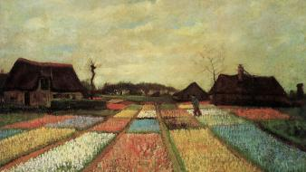 Flowers houses fields dutch artwork traditional art wallpaper