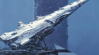 Futuristic fantasy art spaceships science fiction wallpaper