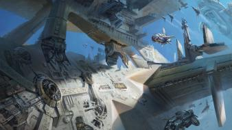 Futuristic spaceships science fiction artwork wallpaper