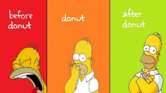 Green red yellow homer simpson donuts the simpsons wallpaper