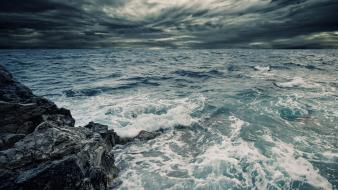 Landscapes coast storm seascapes Wallpaper