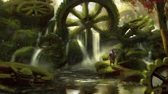 Landscapes forest knights gears moss digital art artwork Wallpaper