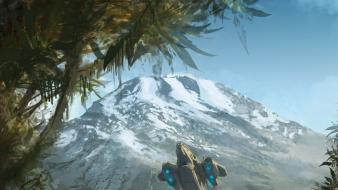 Mountains forest falcon halo master chief artwork wallpaper