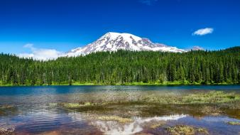 Mountains landscapes nature seattle lakes reflections washington wallpaper