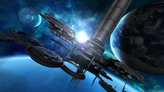 Outer space planets station wallpaper