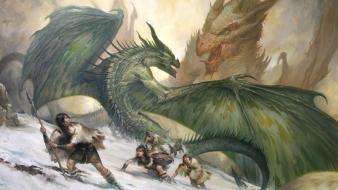 Snow wings dragons fight fantasy art artwork wallpaper