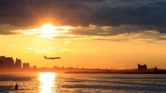 Sunset aircraft boston airbus a340 landing aviation wallpaper