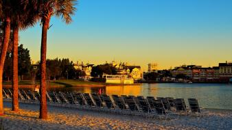 Sunset landscapes beach boardwalk disney wallpaper