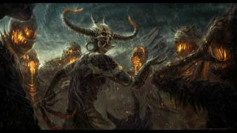 Video games rain demon shamanism Wallpaper