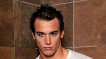 White wet men shower abs fitness chest wallpaper