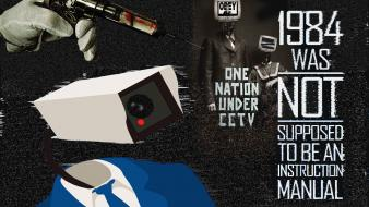 1984 typography surveillance cctv wallpaper