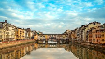 Architecture bridges italy florence reflections canal skies wallpaper