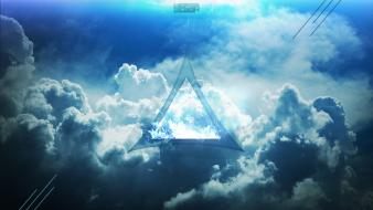 Blue clouds triangle skyscapes wallpaper