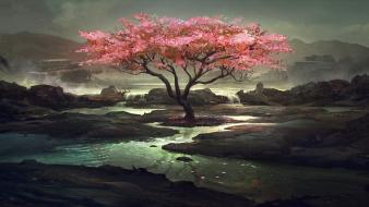 Cherry blossoms trees sakura artwork wallpaper