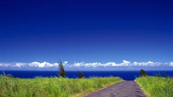 Clouds nature path blue skies sea wallpaper
