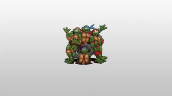 Donatello leonardo raphael simple background michaelangelo grey wallpaper