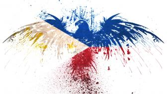 Eagles hawk flags philippines white background Wallpaper