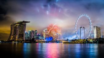 Fireworks singapore skyscrapers marina bay sands citynight wallpaper