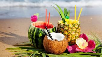 Fruits tropical watermelons straws coconut palm leaves Wallpaper