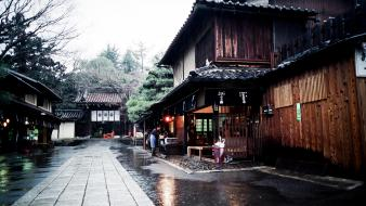 Japan trees cityscapes rain houses people asia wallpaper