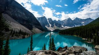 Landscapes nature canada lakes moraine lake wallpaper