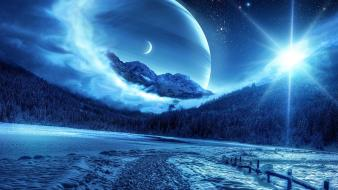 Landscapes outer space digital art wallpaper