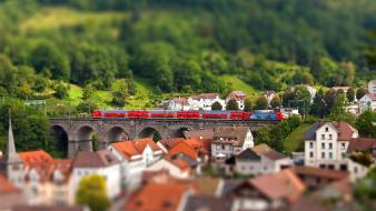 Landscapes trains tilt-shift wallpaper