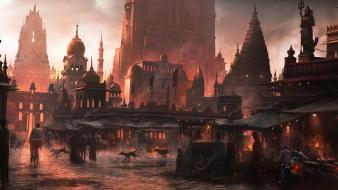 Market old cathedral cities alive eastern wallpaper