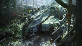 Mech people digital art artwork hangar Wallpaper