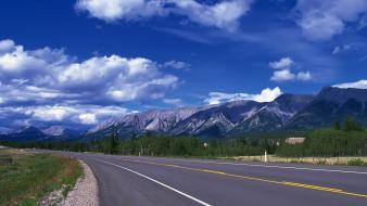 Mountains clouds landscapes nature roads wallpaper