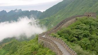 Mountains clouds nature china great wall of wallpaper