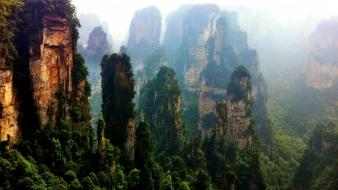 Mountains trees forest china rocks asia moss wallpaper
