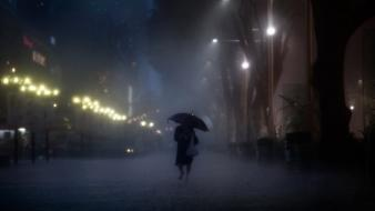 Night rain umbrellas wallpaper