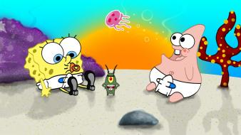 Patrick star spongebob squarepants sun animals ocean Wallpaper