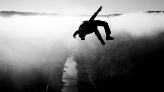 Silhouette national geographic rivers skydiving virginia west wallpaper