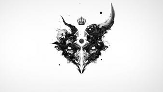 Skulls minimalistic artwork white background Wallpaper