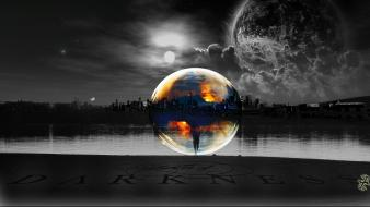 Sun cityscapes planets moon bubbles lakes selective coloring wallpaper