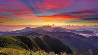 Sunset mountains clouds landscapes wallpaper