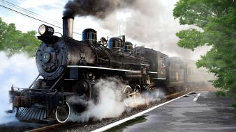Trains steam train locomotives widescreen wallpaper