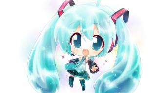 Vocaloid white hatsune miku chibi simple background wallpaper