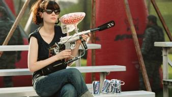 Zooey deschanel paintball sunglasses earrings budweiser bleachers wallpaper