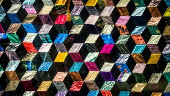 Abstract multicolor cubes 3d quilt cloths Wallpaper